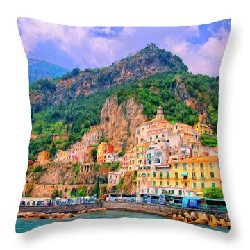 Harbor At Amalfi Throw Pillow by Dominic Piperata