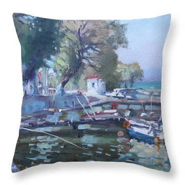 Harbor At Dilesi Greece Throw Pillow