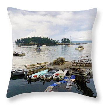 Harbor At Georgetown Five Islands, Georgetown, Maine #60550 Throw Pillow