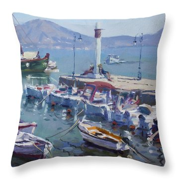Harbor At Oropos Athens Throw Pillow