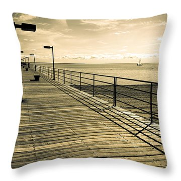 Harbor Beach Michigan Boardwalk Throw Pillow