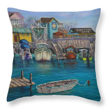 Harbor Boats Coastal Painting Of Southport North Carolina Throw Pillow