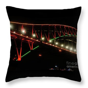 Throw Pillow featuring the photograph Harbor Bridge Green And Red By Kaye Menner by Kaye Menner