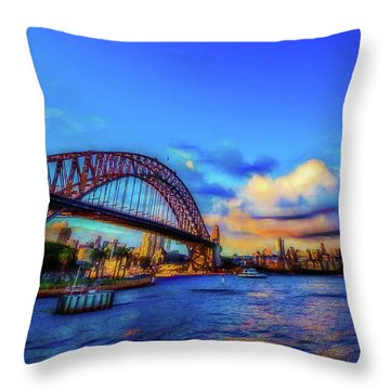 Throw Pillow featuring the photograph Harbor Bridge by Perry Webster