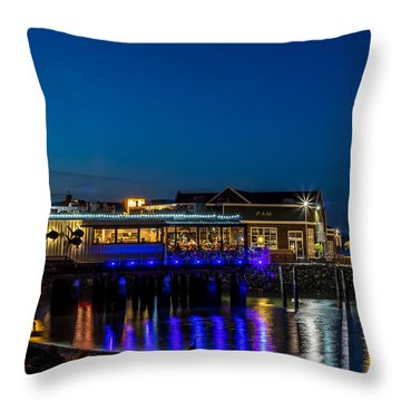 Harbor Lights During Blue Hour Throw Pillow
