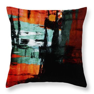 Harbor Lights Water Reflections Painterly Throw Pillow