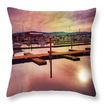 Throw Pillow featuring the photograph Harbor Mood by Chriss Pagani