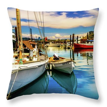 Throw Pillow featuring the photograph Harbor On Guemes Channel by TL  Mair