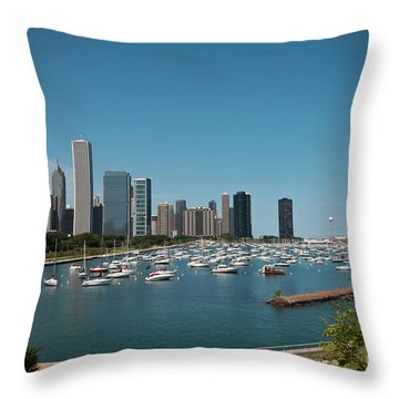Harbor Parking In Chicago Throw Pillow