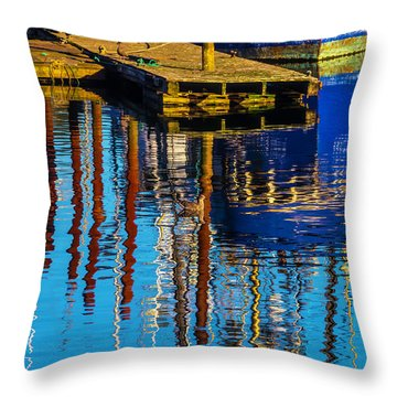 Harbor Reflections Throw Pillow by Garry Gay