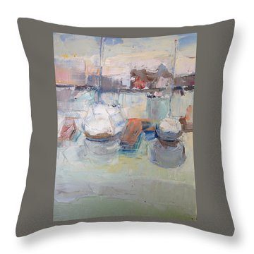 Harbor Sailboats Throw Pillow