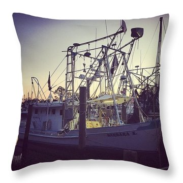 Harbor Shrimp Boat  Throw Pillow