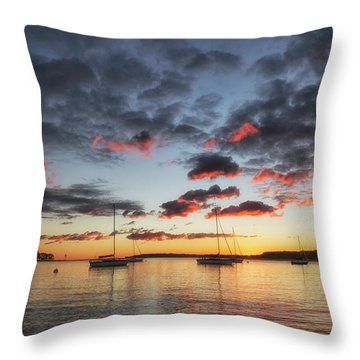 Throw Pillow featuring the photograph Harbor Sunrise by Heather Kenward