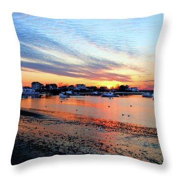 Harbor Sunset At Low Tide Throw Pillow