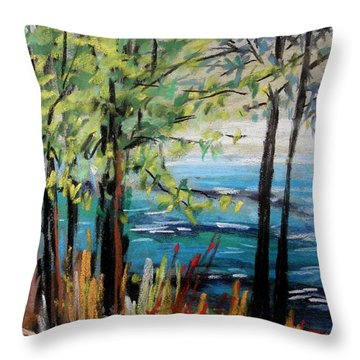 Throw Pillow featuring the painting Harbor Trees by John Williams