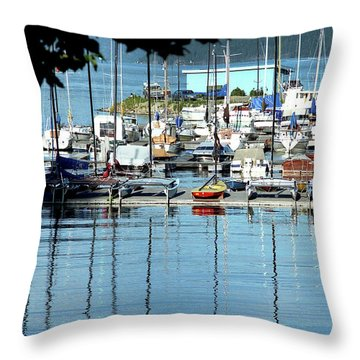 Throw Pillow featuring the photograph Harbor View by Emanuel Tanjala
