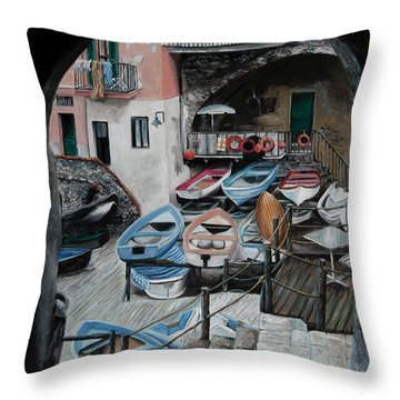 Harbor's Edge In Riomaggiore Throw Pillow by Charlotte Blanchard