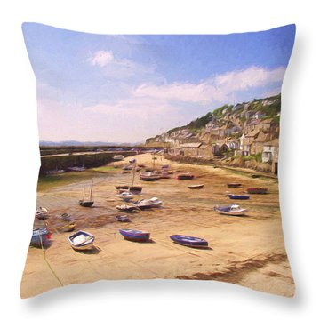 Harbour At Low Tide - Mousehole Throw Pillow