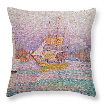Harbour At Marseilles Throw Pillow by Paul Signac
