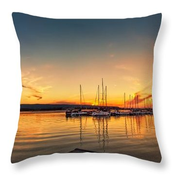 Harbour At Sunset Throw Pillow