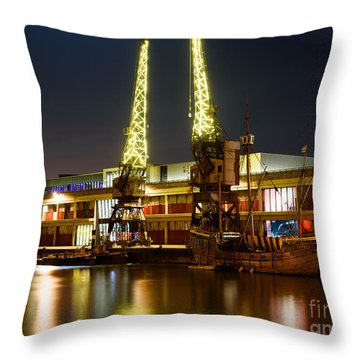 Harbour Cranes Throw Pillow