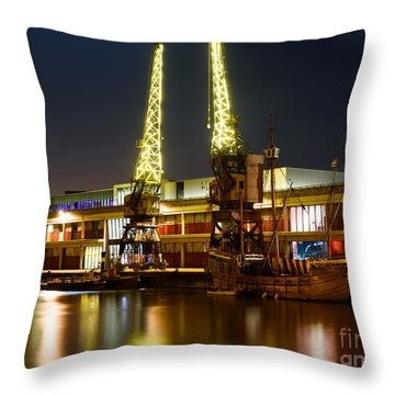 Throw Pillow featuring the photograph Harbour Cranes by Colin Rayner