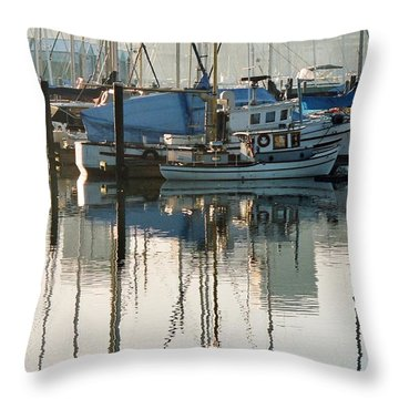 Harbour Fishboats Throw Pillow