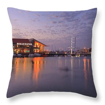 Harbour Lights, Hillarys Boat Harbour Throw Pillow by Dave Catley