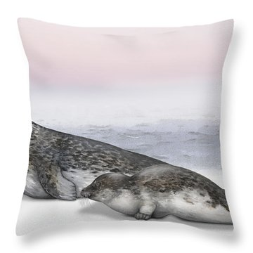 Throw Pillow featuring the painting Harbour Seal Common Seal Phoca Vitulina - Marine Mammals - Seehund by Urft Valley Art