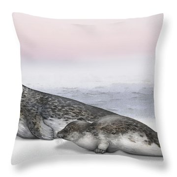 Harbour Seal Common Seal Phoca Vitulina - Marine Mammals - Seehund Throw Pillow