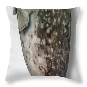 Throw Pillow featuring the painting Harbour Seal - Harbor Seal - Phoca Vitulina - Phoque Commun - Foca Comune - Pinniped - Sleeping  by Urft Valley Art