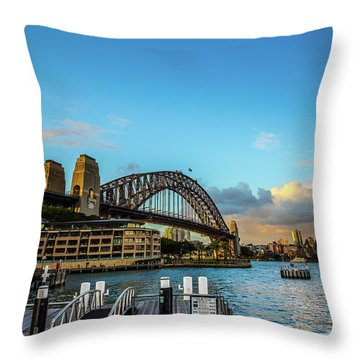 Throw Pillow featuring the photograph Harbour Sky by Perry Webster