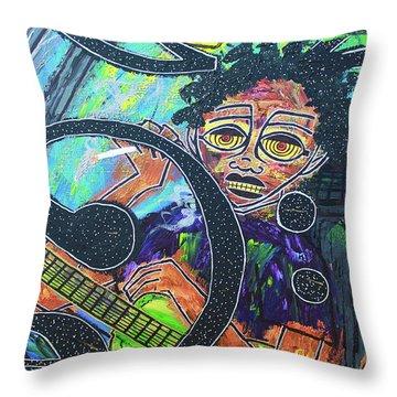 Hard Bass Nights Throw Pillow