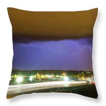 Hard Rain  Lightning Thunderstorm Over Loveland Colorado Throw Pillow by James BO  Insogna