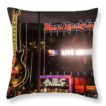 Hard Rock Cafe Las Vegas Strip At Night Throw Pillow by RicardMN Photography