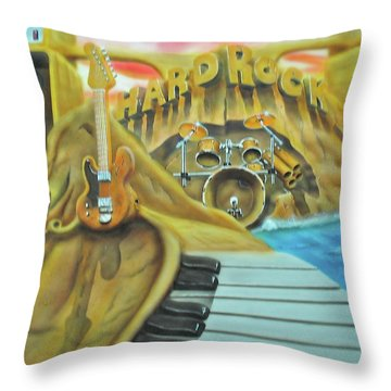 Throw Pillow featuring the painting Hard Rock by Thomas J Herring