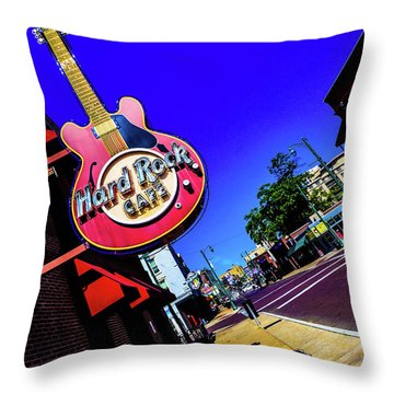 Hard Rockin On Beale Throw Pillow