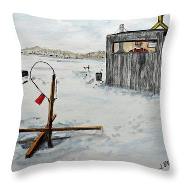 Hard Water Fishing Throw Pillow