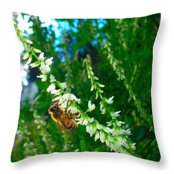 Throw Pillow featuring the photograph Hard Working Bee by Michael Dohnalek