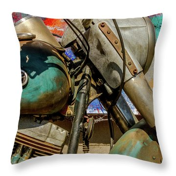 Throw Pillow featuring the photograph Harley Davidson - American Icon II by Bill Gallagher