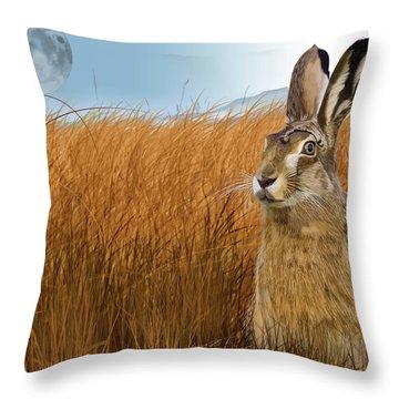 Hare In Grasslands Throw Pillow