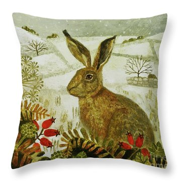 Hare In The Snow Throw Pillow