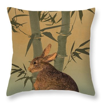 Hare Under Bamboo Tree Throw Pillow