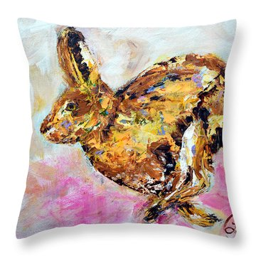 Haring Hare Throw Pillow