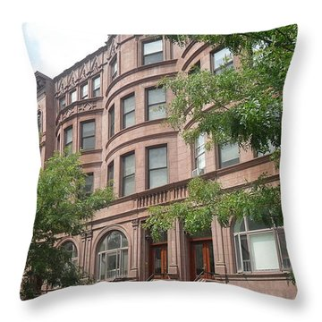 Throw Pillow featuring the photograph Harlem Brownstones by Vannetta Ferguson