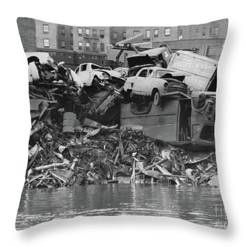 Harlem River Junkyard, 1967 Throw Pillow by Cole Thompson