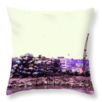 Harlem River Junkyard Throw Pillow by Cole Thompson