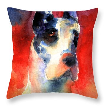 Harlequin Great Dane Watercolor Painting Throw Pillow