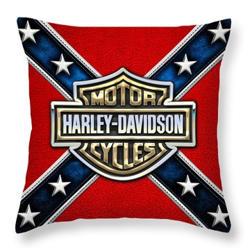 Harley-davidson - 3d Badge Throw Pillow