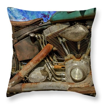 Throw Pillow featuring the photograph Harley Davidson - An American Icon by Bill Gallagher